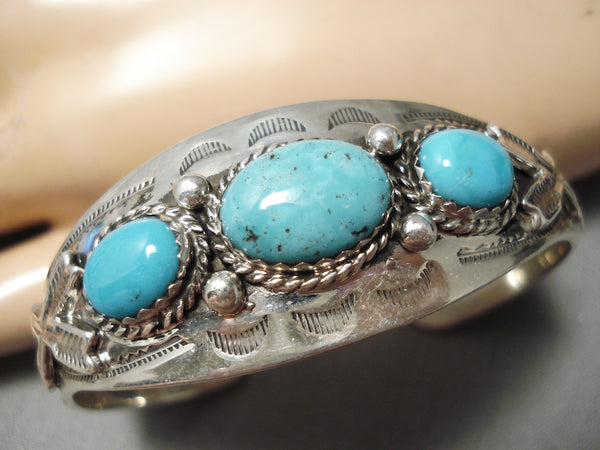 Superior Vintage Native American Navajo Carico Lake Turquoise Sterling Silver Bracelet Old