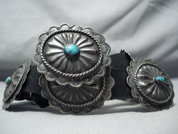 Sensational Vintage Native American Navajo Kingman Turquoise Sterling Silver Concho Belt Old