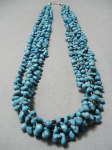 Stunning Vintage Native American Navajo Blue Spiderweb Turquoise Sterling Silver Necklace Old
