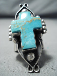 Impressive Navajo Native American Turquoise Cross Sterling Silver Ring