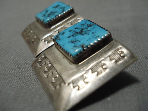 Exceptional Vintage Native American Navajo Old Kingman Turquoise Sterling Silver Earrings Old