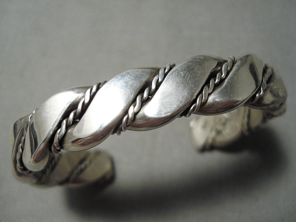 Thick Heavy Sturdy Vintage Native American Navajo Hand Teisted Coiled Sterling Silver Bracelet