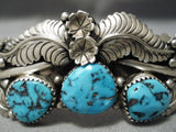 Detailed!! Vintage Native American Navajo Spiderweb Turquoise Sterling Silver Leaf Bracelet