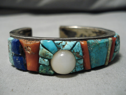 Museum Quality Vintage Native American Navajo 3d Inlay Sterling Silver Bracelet Cuff Old