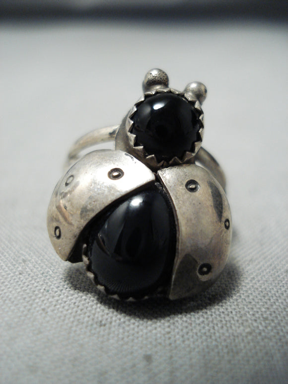Whimsical Navajo Black Onyx Sterling Silver Ring Native American
