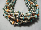 Important Native American Navajo Green Turquoise Orange Coral Heishi Necklace