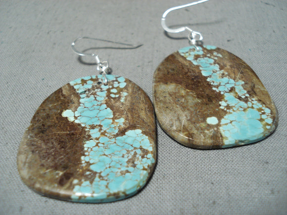 Native American Sensational Santo Domingo 8 Turquoise Large Slab Sterling Silver Earrings