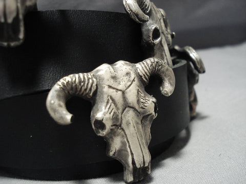 378 Grams Sterling Silver Leather Cow Skull Concho Belt-Nativo Arts