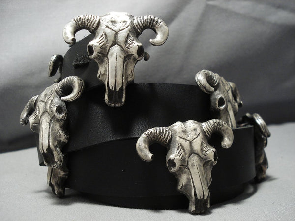 378 Grams Sterling Silver Leather Cow Skull Concho Belt