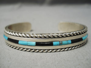 Important Vintage Native American Navajo Jimmie King Jr Turquoise Inlay Sterling Silver Bracelet