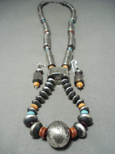 Massive Tubule Native American Navajo Turquoise Shell Sterling Silver Necklace