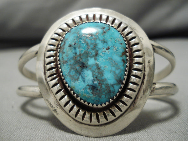 Rare Pilot Mountain Turquoise Vintage Native American Navajo Sterling Silver Bracelet Old