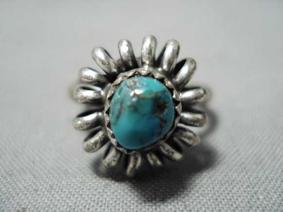 Swirling Waves Vintage Native American Navajo Turquoise Sterling Silver Ring Old