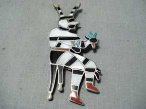 One Of The Biggest Best Vintage Native American Zuni Clown Turquoise Sterling Silver Pin