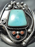 One Of The Biggest Best Vintage Native American Navajo Turquoise Coral Sterling Silver Bracelet