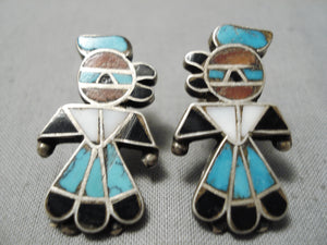 Wonderful Vintage Native American Zuni Native Detailed Turquoise Coral Sterling Silver Earrings