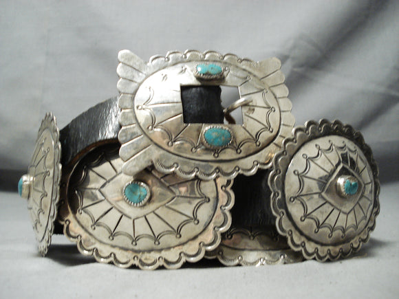 Spectacular Vintage Native American Navajo Turquoise Sterling Silver Concho Belt Old