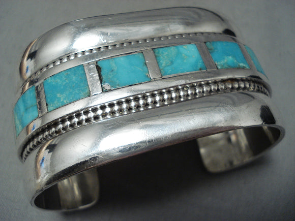 Heavy Huge Vintage Native American Zuni Turquoise Sterling Silver Bracelet Old