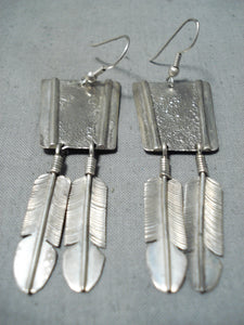Amazing Vintage Navajo Sterling Silver Feather Earrings Native American Old