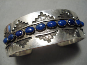 Quality Vintage Native American Navajo Domed Lapis Sterling Silver Bracelet Old