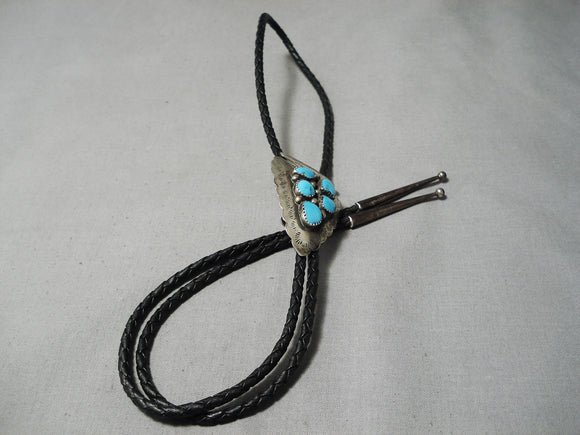Detailed Vintage Native American Navajo Turquoise Sterling Silver Arrowhead Bolo Tie