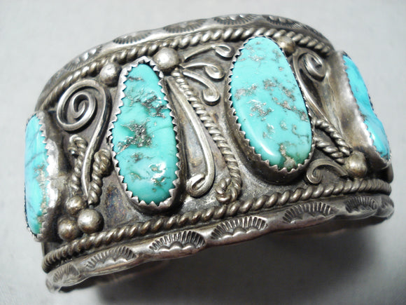 Authentic Vintage Native American Navajo Museum Turquoise Sterling Silver Bracelet