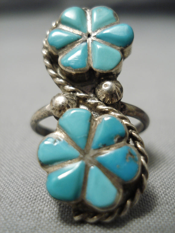 Amazing Vintage Zuni Native American Turquoise Inlay Sterling Silver Ring Old