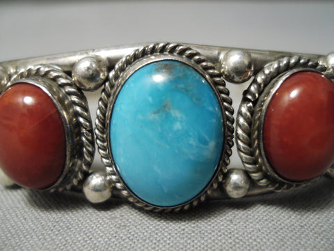 Superior Vintage Native American Navajo Turquoise Gaspeite Coral Sterling Silver Bracelet