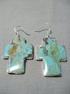 Native American Rare Vintage Santo Domingo Royston Turquoise Cross Sterling Silver Earrings