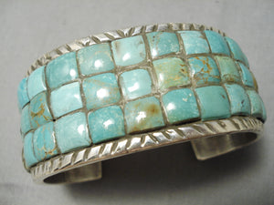 Thick Heavy Native American Navajo Green Turquoise Sterling Silver Checkerboard Bracelet