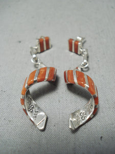 Native American Superb Zuni Signed Coral Sterling Silver Spiral Earrings