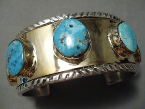 Rare Navajo 14k Gold Native American Sterling Silver Thick Turquoise Bracelet