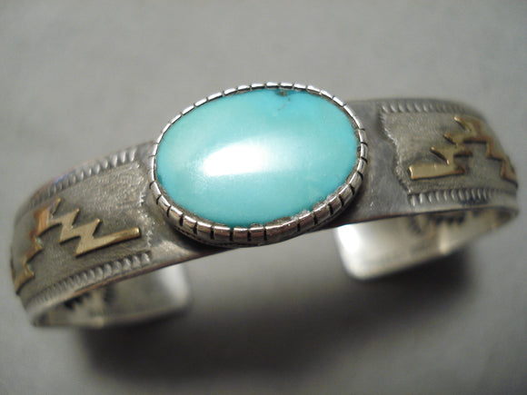Amazing Vintage Native American Navajo Turquoise Sterling Silver Geometric Bracelet