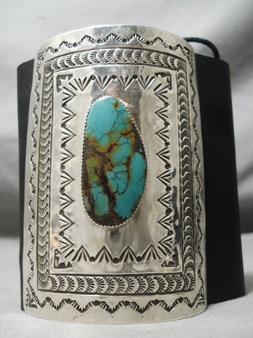 Tall Towering Vintage Native American Navajo Royston Turquoise Sterling Silver Ketoh Bracelet