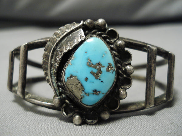 Stunning Vintage Native American Navajo Old Morenci Turquoise Sterling Silver Bracelet Cuff