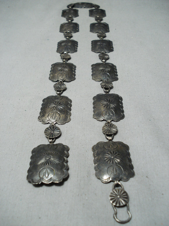 1930's Vintage Navajo Sterling Silver Concho Belt Native American Old