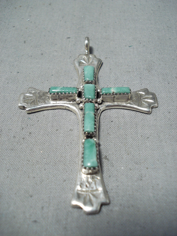 Natachu Vintage Native American Zuni Royston Turquoise Sterling Silver Cross Pendant