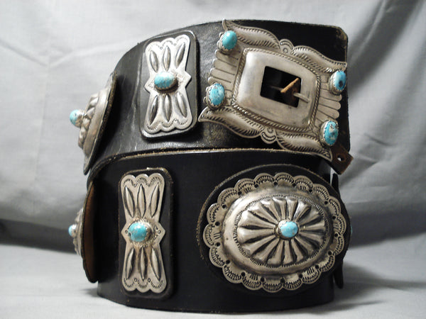 Largest Vintage Native American Navajo Turquoise Sterling Silver Concho Belt This Year