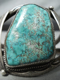 Rare Indian Mountain Turquoise Vintage Native American Navajo Sterling Silver Bracelet Old