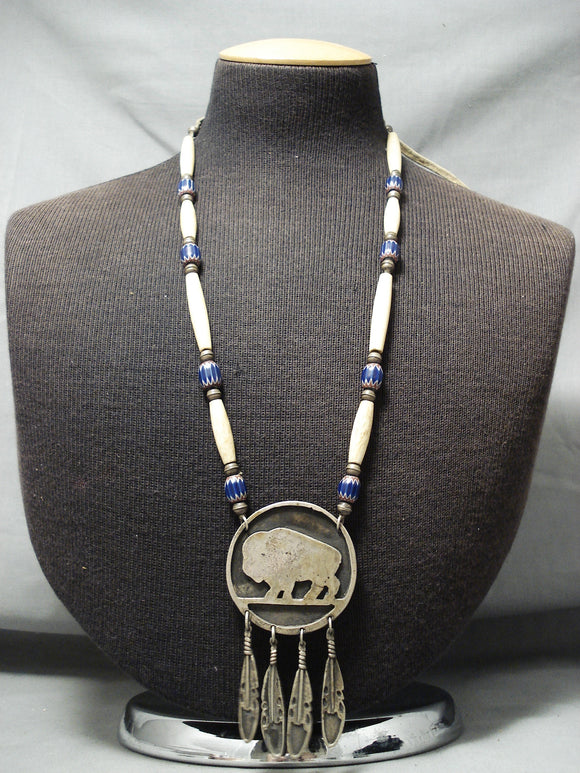 Longer Vintage Native American Navajo Lapis Sterling Silver Necklace Old