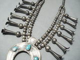 Long Flute Vintage Native American Navajo Turquoise Sterling Silver Squash Blossom Necklace Old