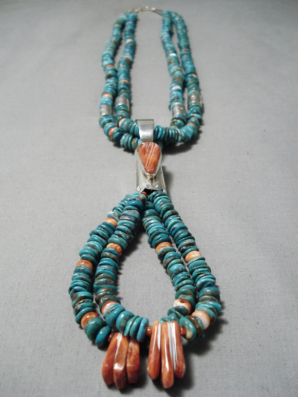 Native American Colorful Vintage Santo Domingo Turquoise Coral Sterling Silver Necklace