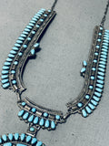 Phenomenal Vintage Native American Hopi Signed Kingman Cluster Sterling Silver Necklace