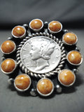 Remarkable Native American Navajo Spiny Oyster Mercury Dime Sterling Silver Ring