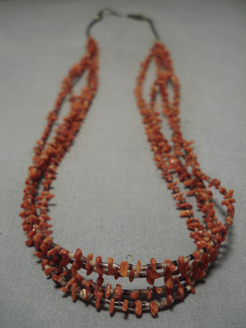 Exquisite Vintage Navajo Coral Sterling Silver Native American Necklace