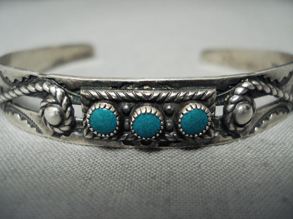Rare Vintage Native American Navajo Early Snake Eyes Turquoise Sterling Silver Bracelet