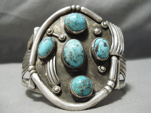 Statement Vintage Native American Navajo Lone Mountain Turquoise Sterling Silver Bracelet