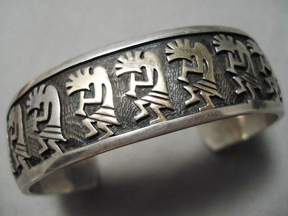 Native American Important Vintage Hopi 14k Gold Dancing Kokopelli Sterling Silver Bracelet