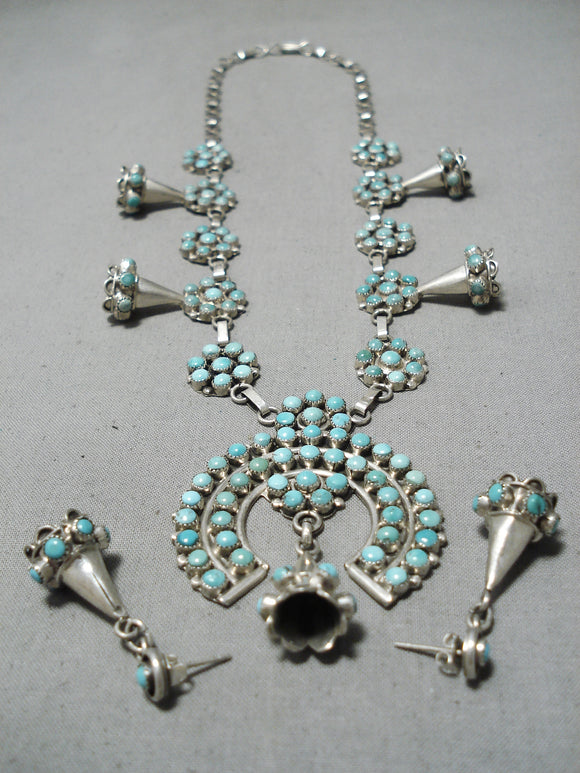 Bernard Bowekaty Vintage Native American Zuni Turquoise Squash Blossom Necklace Sterling Silver