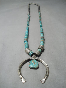 Completely Hand Tooled Sterling Silver Vintage Native American Navajo Turquoise Necklace